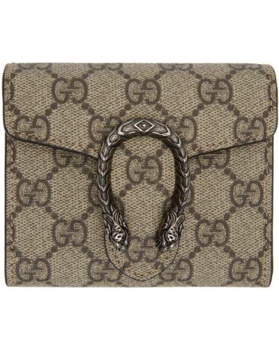 Brezentowy srebro portfel skórzany wytłoczony z kieszeniami Gucci