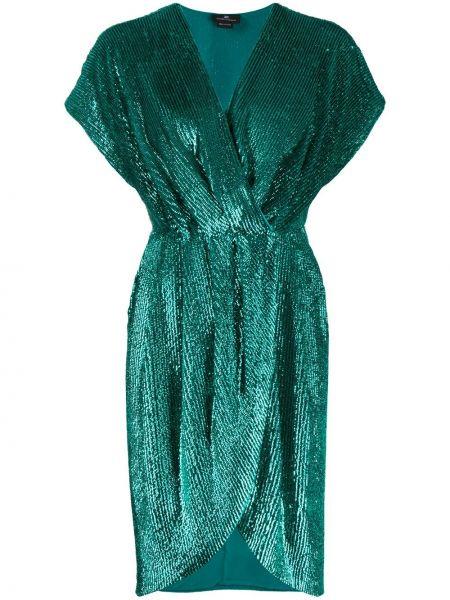 Зеленое коктейльное платье с запахом с пайетками Elisabetta Franchi