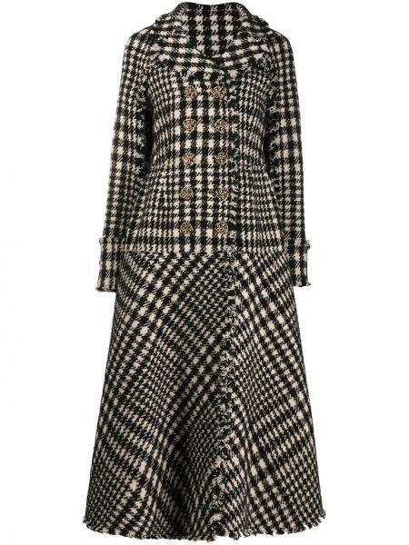 Черное длинное пальто из альпаки с бахромой с лацканами Ports 1961