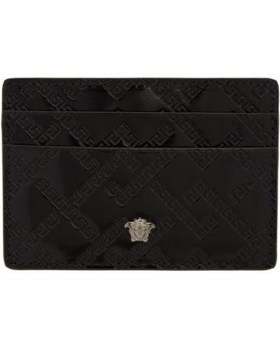 Черная ключница со шлицей из натуральной кожи с подкладкой Versace