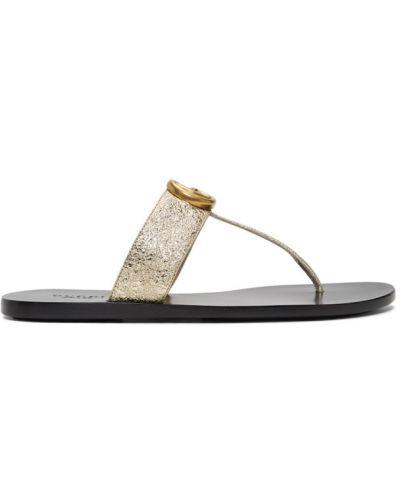 Czarny skórzany sandały wytłoczony prążkowany Gucci