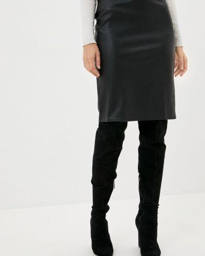 Кожаная черная юбка Defacto