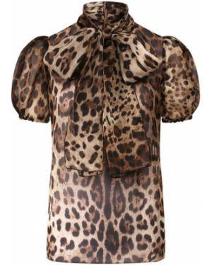 Блузка с леопардовым принтом с бантом Dolce & Gabbana