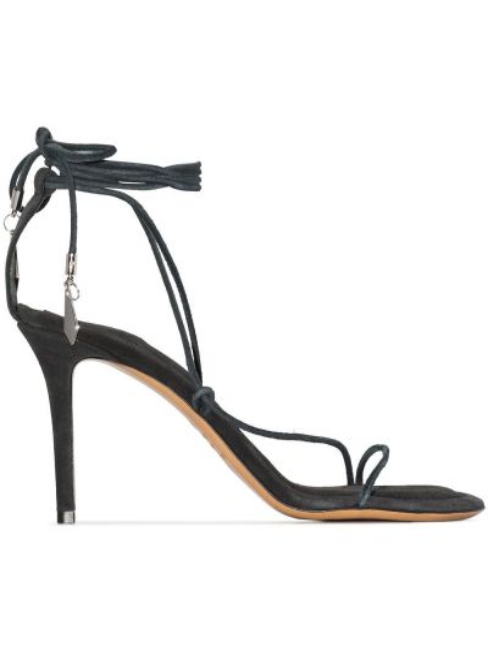 Czarne sandały skorzane peep toe Isabel Marant