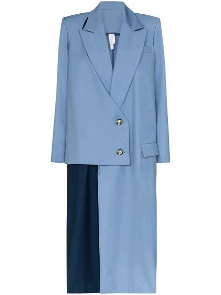 Синее пальто на пуговицах с капюшоном Marta Jakubowski