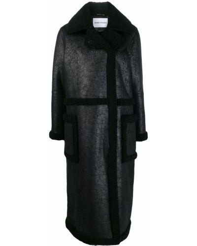 Черное длинное пальто с капюшоном Stand