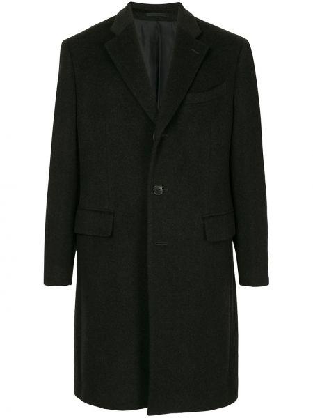 Czarny płaszcz wełniany zapinane na guziki Kent & Curwen