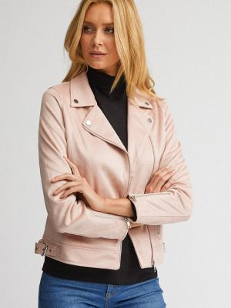 Кожаная куртка весенняя розовая Dorothy Perkins