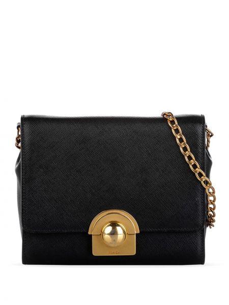 Золотистая черная сумка через плечо металлическая с карманами Prada Pre-owned