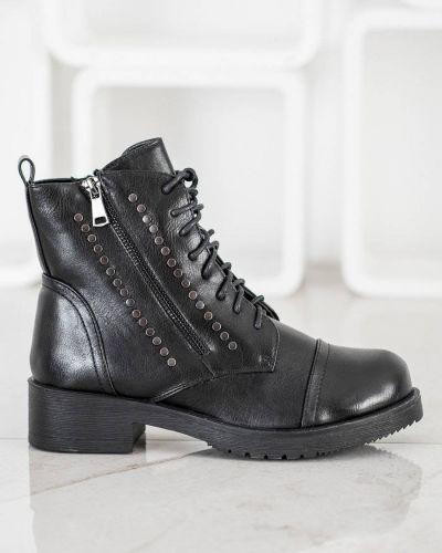 Skórzany czarny botki za pełne z wkładkami Merg