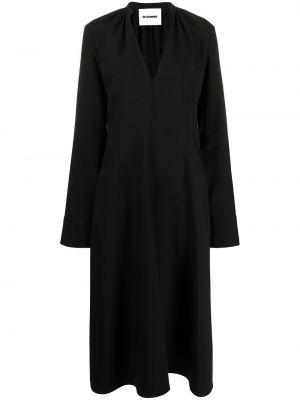 Шелковое платье миди - черное Jil Sander