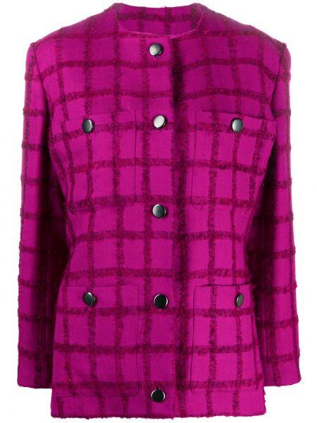 Różowy prosto długa kurtka z kieszeniami z długimi rękawami Yves Saint Laurent Pre-owned