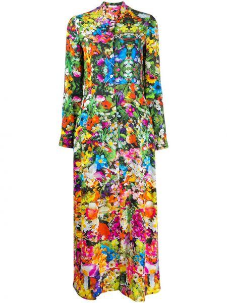 Платье макси на пуговицах с цветочным принтом 813