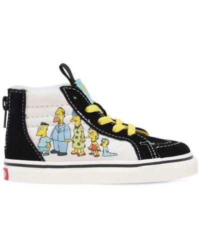 Bawełna ażurowy skórzany sneakersy na sznurowadłach Vans