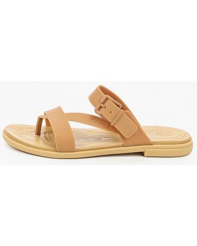 Бежевые пляжные шлепанцы Crocs