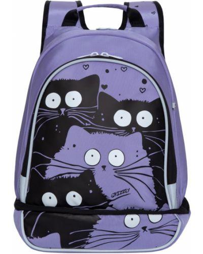 Фиолетовый школьный текстильный ранец на бретелях Grizzly