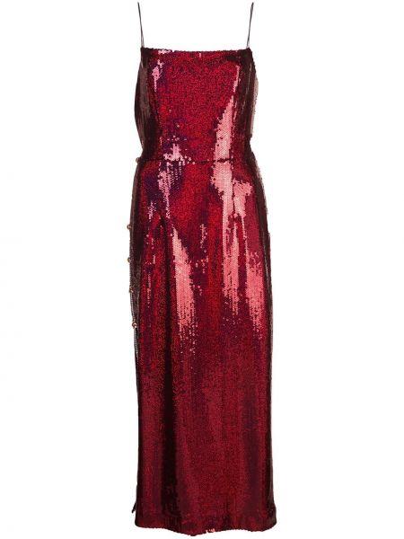 Тонкое платье миди с пайетками на бретелях с разрезами по бокам Markarian