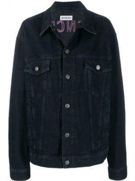 Джинсовая куртка на пуговицах с вышивкой Balenciaga