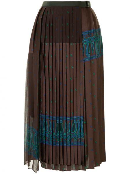 Pofałdowany ciemny brąz spódnica plisowana z klamrą Sacai