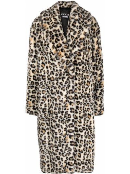 Прямое длинное пальто из вискозы с длинными рукавами Moschino