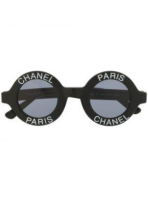 Черные солнцезащитные очки круглые винтажные Chanel Pre-owned