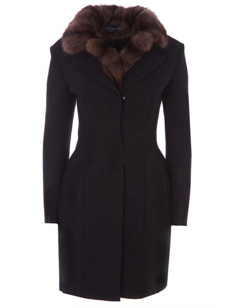 Приталенное шерстяное пальто классическое с воротником с поясом Ermanno Scervino