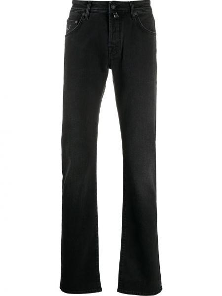 Prosto bawełna czarny jeansy o prostym kroju z paskiem Jacob Cohen