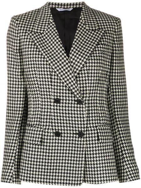 Шерстяной черный удлиненный пиджак двубортный Tonello