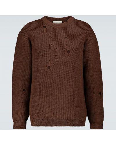 Prążkowany brązowy sweter wełniany Gucci