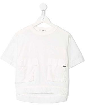 Белая футболка с карманами круглая с круглым вырезом Fith