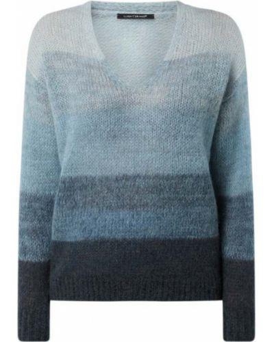 Niebieski sweter moherowy w paski Luisa Cerano