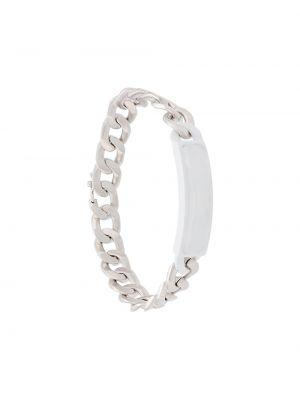 Biała bransoletka łańcuch srebrna asymetryczna Maison Margiela