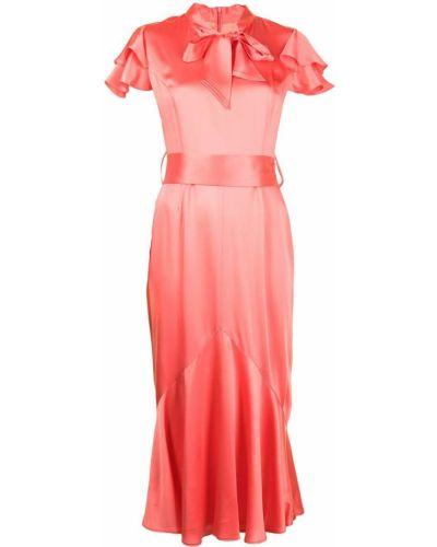 Розовое платье с бантом из вискозы Goat