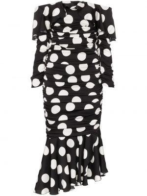 Платье в горошек со складками Dolce & Gabbana