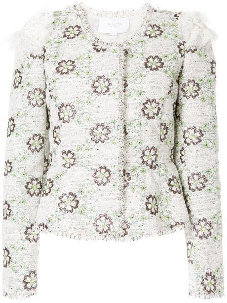 Приталенная белая куртка с бахромой Giambattista Valli