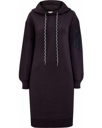 Черное платье с сеткой с капюшоном Moncler