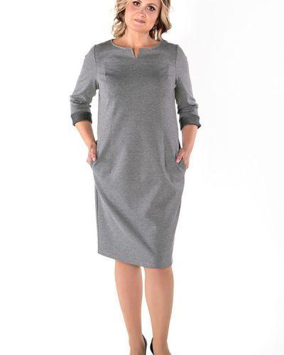 Платье макси серое в полоску Virgi Style