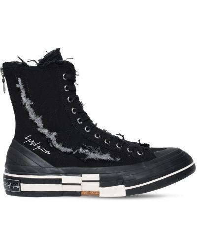 Czarny wysoki sneakersy koronkowy sznurowany Yohji Yamamoto