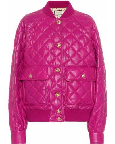 Прямая малиновая стеганая куртка с бриллиантом Gucci