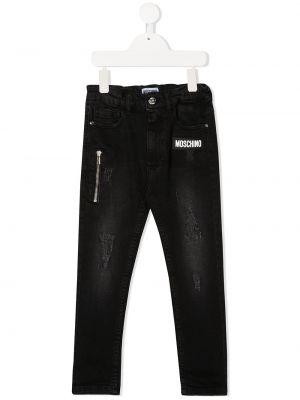 Черные облегающие джинсы-скинни на молнии Moschino Kids