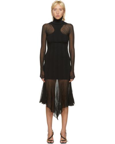 Асимметричное черное платье макси с воротником с длинными рукавами Mugler