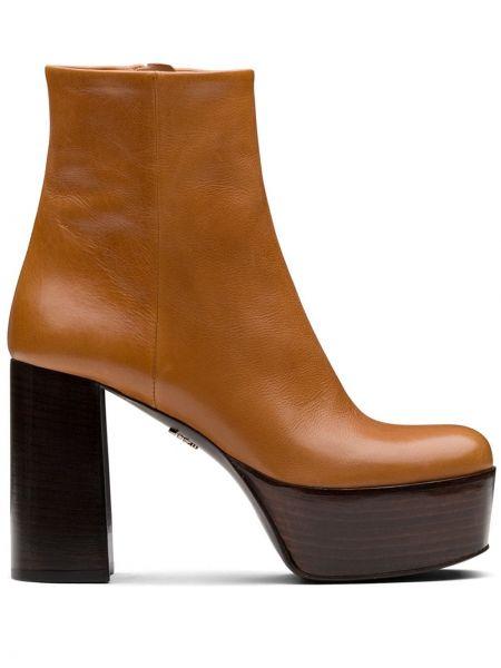 Brązowy buty na platformie z prawdziwej skóry na klinie kwadratowy Prada