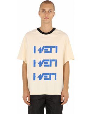 Biały t-shirt bawełniany z printem Haervaerk