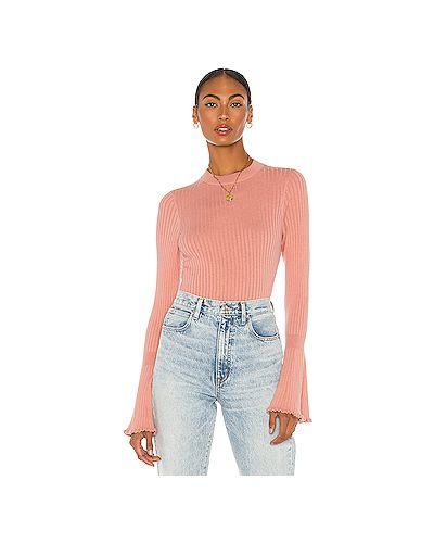 Шелковый розовый свитер в рубчик с декоративной отделкой Paige