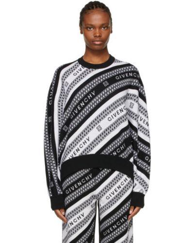 Czarny długi sweter wełniany z długimi rękawami Givenchy