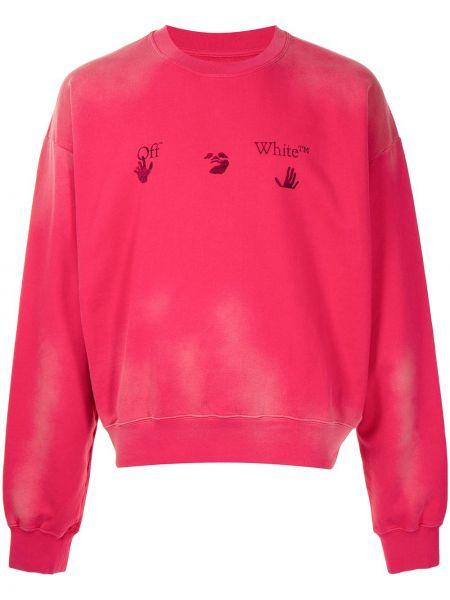 Bawełna z rękawami różowy bluza Off-white