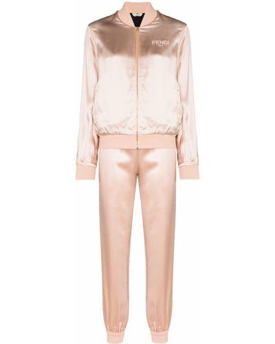Розовый спортивный костюм с вышивкой из вискозы Fendi