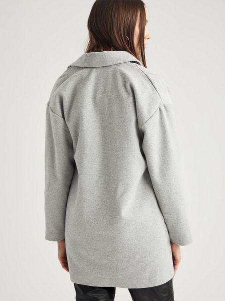 Серое шерстяное пальто с воротником Defacto
