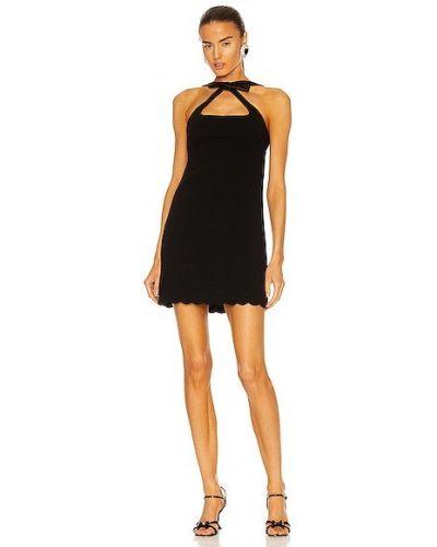 Платье мини атласное - черное Miu Miu