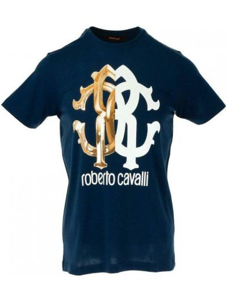 Niebieska t-shirt Roberto Cavalli